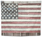 Worn Wooden American Flag, Fire Island, New York Tapestry by Julien McRoberts