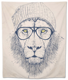 Cool Lion Tapestry by Balazs Solti
