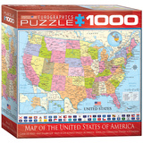 Map of the United States of America 1000 Piece Puzzle Jigsaw Puzzle