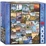 Lighthouses Vintage Posters 1000 Piece Puzzle Jigsaw Puzzle