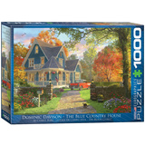 The Blue Country House by Dominic Davison 1000 Piece Puzzle Jigsaw Puzzle