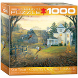 Country Crossing Pheasants by Sam Timm 1000 Piece Puzzle Jigsaw Puzzle