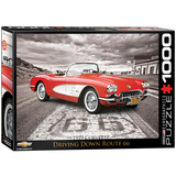 1959 Corvette Driving Down Route 66 1000 Piece Puzzle Jigsaw Puzzle