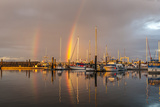 Canada, British Columbia, Inside Passage. Rainbows over Port Mcneill Marina Photographic Print by Jaynes Gallery
