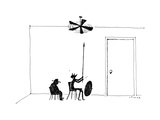 Silhouette of Don Quixote trying to fight off a ceiling fan. - New Yorker Cartoon Premium Giclee Print by Liana Finck