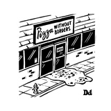 Pizza oozing out of a pizza place. - New Yorker Cartoon Premium Giclee Print by Drew Dernavich