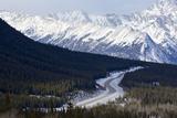 Canada, Alberta, Kootenay Plains. Road Through Mountain Landscape Photographic Print by Jaynes Gallery