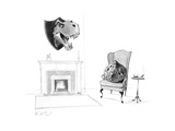 Asteroid in armchair has dinosaur head over mantelpiece, a play on a hunte... - New Yorker Cartoon Premium Giclee Print by Will McPhail