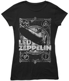 Juniors: Led Zeppelin- Distressed Four Symbols Stamp T-Shirt