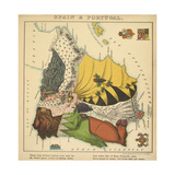 Spain & Portugal, Geographical Fun: Being Humourous Outlines of Various Countries, 1869 Giclee Print by Lilian Lancaster