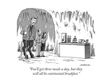 """You'll get three meals a day, but they will all be continental breakfast. - New Yorker Cartoon Premium Giclee Print by Joe Dator"