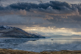Utan, Antelope Island State Park. Clouds over a Wintery Great Salt Lake Photographic Print by Judith Zimmerman