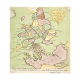 New Map of England and France, the French Invasion, 1793 Giclee Print by James Gillray