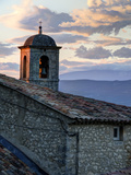 France, Provence, Lacoste. Church Bell Tower at Sunset in the Hill Town of Lacoste Photographic Print by Julie Eggers