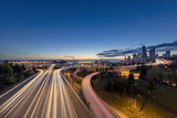City Skyline and Interstate 90 and 5 from Jose Rizal Bridge in Downtown Seattle, Washington State Photographic Print by Chuck Haney