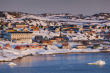 Greenland, Disko Bay, Ilulissat, Elevated Town View with Floating Ice Photographic Print by Walter Bibikow