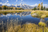 Wyoming, the Grand Teton Mountains are Reflected Along the Snake River at Schwabacher Landing Photographic Print by Elizabeth Boehm