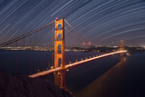 California, San Francisco. Composite of Star Trails Above Golden Gate Bridge Photographic Print by Jaynes Gallery