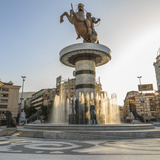 Macedonia, Skopje, Macedonia Square Fountain, 'Warrior on Horseback' Statue Photographic Print by Emily Wilson