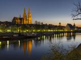 Regensburg in Bavaria, the Old Town. Dawn over the Old Town, Reflections in the River Danube Photographic Print by Martin Zwick