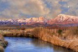 California, Sierra Nevada Mountains. Moon over Mountains and Owens River Photographic Print by Jaynes Gallery