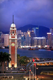 Hong Kong Clock Tower and Harbor at Night from Kowloon Star Ferry Reflection Photographic Print by William Perry