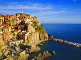Europe, Italy, Manarola. Hillside Town Overlooking Ocean Photographic Print by Jaynes Gallery