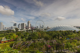 Singapore, Gardens by the Bay, Super Tree Grove, Elevated Walkway View with Singapore Skyline Photographic Print by Walter Bibikow