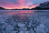 Canada, Alberta, Abraham Lake. Winter Sunrise over Lake and Mount Michener Photographic Print by Jaynes Gallery