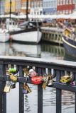 Denmark, Zealand, Copenhagen, Nyhavn Harbor, Love Locks Photographic Print by Walter Bibikow
