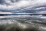 Tennessee. Ten Mile. Calm before the Storm. Storm Clouds Reflected in Glass Calm Lake Photographic Print by Trish Drury