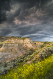 North Dakota, Theodore Roosevelt National Park, Thunderstorm Approach on the Dakota Prairie Photographic Print by Judith Zimmerman