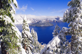 Crater Lake and Wizard Island in Winter, Crater Lake National Park, Oregon, Usa Photographic Print by Russ Bishop