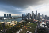 Singapore, City Skyline Elevated View Above the Marina Reservoir, Dusk Photographic Print by Walter Bibikow