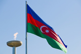 National Flag Blowing in Wind, Baku, Azerbaijan Photographic Print by Michael Runkel