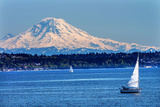Mount Rainier Puget Sound North Seattle Snow Mountain Sailboats, Washington State Photographic Print by William Perry