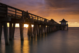 Sunset over the Pier and Gulf of Mexico, Naples, Florida, Usa Photographic Print by Brian Jannsen