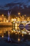 Beacon of Hope Statue, Lagan Bridge and Town of Belfast, County Antrim, Northern Ireland, Uk Fotografie-Druck von Brian Jannsen