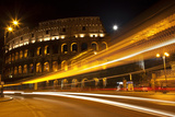 Colosseum Modern Street Abstract Night Moon Time Lapse, Rome, Italy Built by Vespacian Photographic Print by William Perry