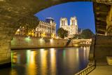 Twilight under Pont Saint Michel with Cathedral Notre Dame, Paris Photographic Print by Brian Jannsen