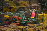 Maine, Bass Harbor, Lobster Traps and Buoy at Bass Harbor Photographic Print by Joanne Wells