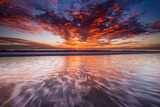 Sunset over the Channel Islands from Ventura State Beach, Ventura, California, Usa Photographic Print by Russ Bishop