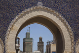Africa, Morocco, Fes. an Arch with Classic Moorish Decor Frames Two Minarets Photographic Print by Brenda Tharp