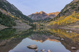 Colorado, White River National Forest, Maroon Bells with Autumn Color at First Light Photographic Print by Rob Tilley