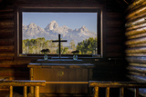 Tetons Through Window in the Episcopal Chapel of the Transfiguration, Wyoming Photographic Print by Michael DeFreitas