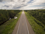Canada, Manitoba, Thompson, Aerial View of Highway Through Boreal Forest Photographic Print by Paul Souders