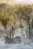 Boulders and Trees in Steaming Yellowstone River at Sunrise, Yellowstone National Park, Wyoming Photographic Print by Adam Jones