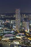 Singapore, Elevated City Skyline Above Marina Reservoir, Dusk Photographic Print by Walter Bibikow