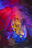 China, Guling, Multicolored Lights in the Reed Flute Cave Photographic Print by Terry Eggers
