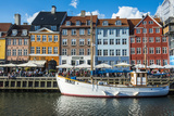 Fishing Boats in Nyhavn, 17th Century Waterfront, Copenhagen, Denmark Photographic Print by Michael Runkel